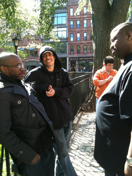 Patrice on set with Russ Meneve and Ian Edwards,  Comedy Central Pilot