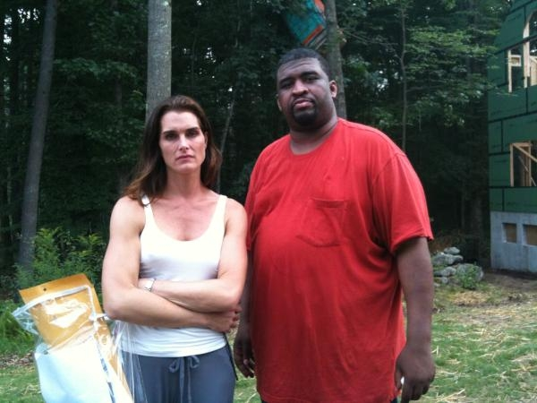 Patrice on set with Brooke Shields